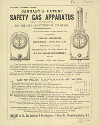 Advert For Carnaby's Safety Gas Apparatus